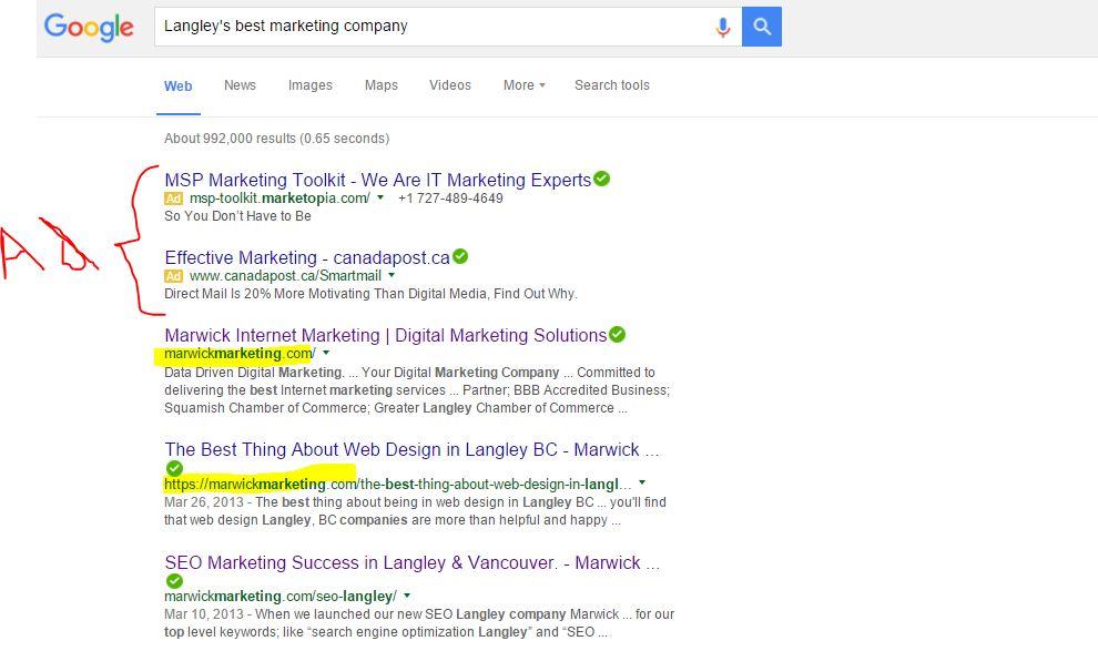 Seo company langley ranking