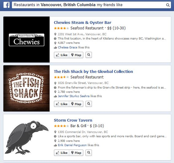 restaurants Launch of Graph Search on Facebook