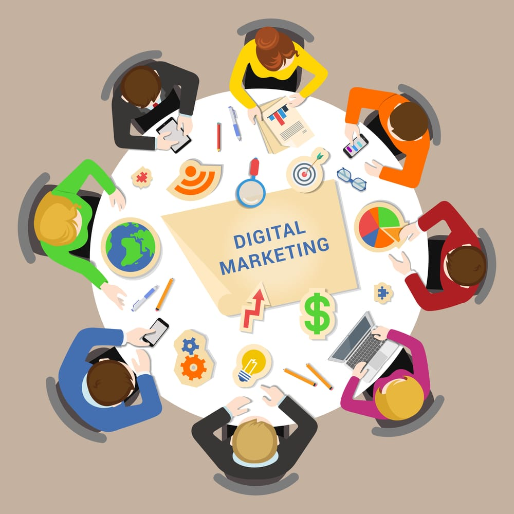 Digital marketing brainstorm concept. Round office table top view business flat web infographic concept vector. Staff around table chart bar circle diagram graphic. Creative people collection.