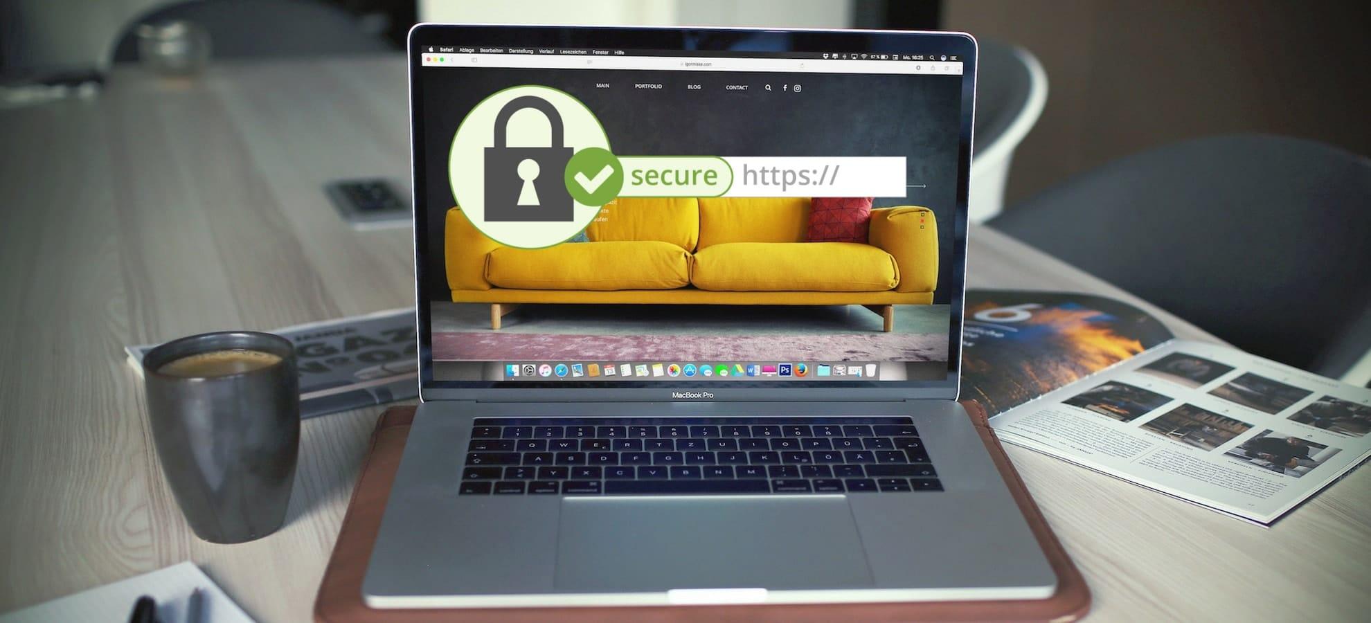 SSL Certificate SEO Google laptop website