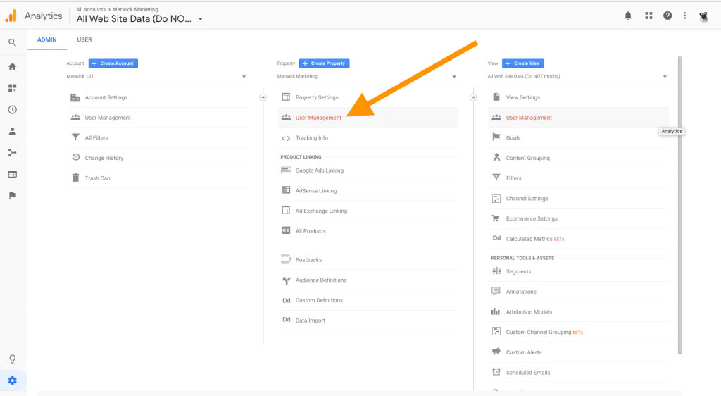 Adding and Editing Users Google Analytics