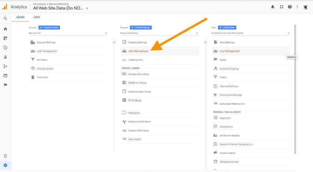 Adding and Editing Users Google Analytics